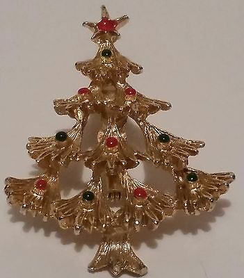 Christmas Tree Brooch unsigned Gold-tone metal w/enamel looking decorations