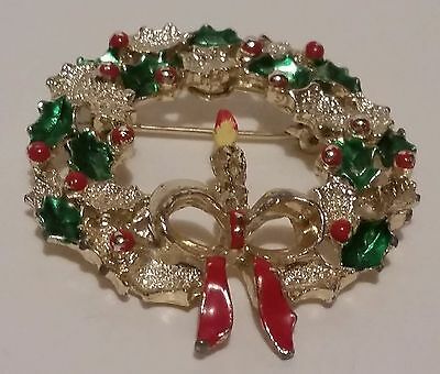 Christmas Wreath Brooch signed Gerrys Gold-tone w/Green & Red enamel candle