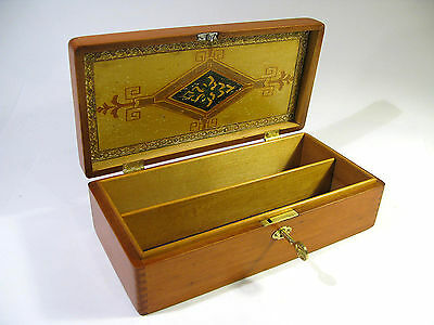 Antique Early 1900s Wooden Jewelry Box—Working Lock & Decorative Design in Lid.