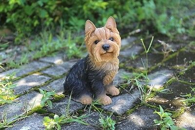 Sitting Yorkshire Terrier Dog Statue New Realistic Life Like Home Garden Decor