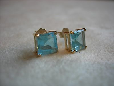 vtg 14k earrings - square cut, aquamarine stud pierced earrings w/orig backs