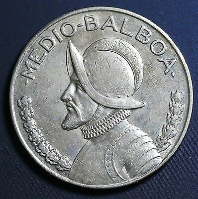 1934 Panama Silver 1/2 Balboa KM# 12.1 Low Mintage 90k Rare Coin