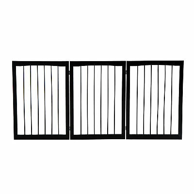 Pawhut Folding Pet Gate Fence Free Standing Child Safety Indoor Wood Durable