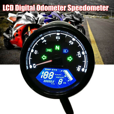 Motorcycle LCD Digital Odometer Speedometer Tachometer Gauge LED Instrument