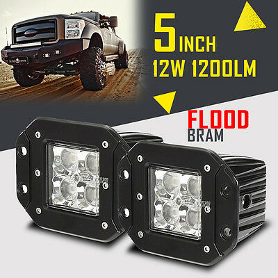 2Pcs 5inch 12W FLOOD BEAM CREE LED Work Light Bar Off-road Rear Pods Parking 4""