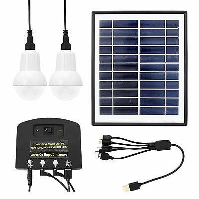 Solar Lighting System for Camping 4W Outdoor Panel Power Lamp Light Charget Kit