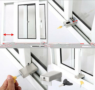 Window Restrictor Sliding Door Anti-Theft Lock Latch Baby Kids Protection W/ Key