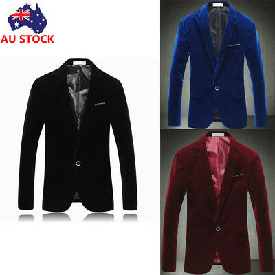 AU Mens Casual Slim Fit One Button Velvet Blazer Coat Jackets Business Suit Tops