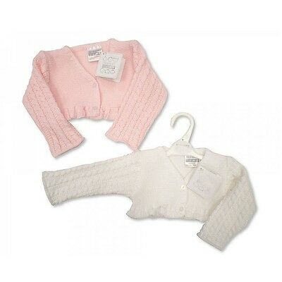 Baby Girls Clothes Bolero cardigan pink white Newborn - 6 months Little-Miracles