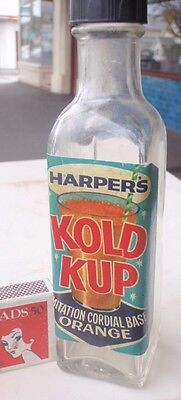 """""""Harpers Cold Cup""""  Cordial Bottle with  Paper  Label;"""