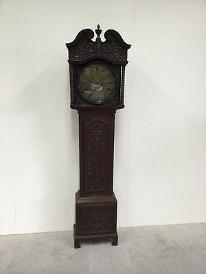 Antique 8 Day Grandfather Clock Round Brass Face Carved Case For Restoration