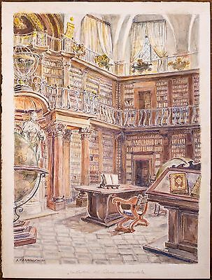 ORIGINAL, signed, three watercolors:  historical libraries in Rome