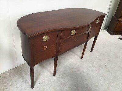 Antique Edwardian Inlaid Mahogany Sideboard Rare Shape Serpentine Curved Back