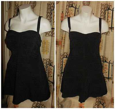 Vintage 1940s 50s Black Skirt Bathing Suit Embroidered Rockabilly L chest 42