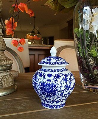 Ancient Chinese Style Blue White Porcelain Tea Storage Temple Vase Qing Dynasty