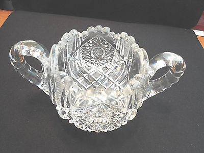 Vintage American Brilliant Cut Glass Large Two Handled Condiment Server