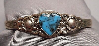 Vintage Child's Southwest Cuff Bracelet by Bell - Nickel Silver Turquoise Heart