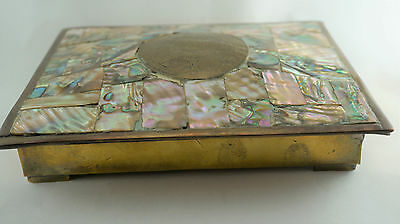 Vintage Brass Box Abalone Inset Tile Top Mexico Rosewood Interior