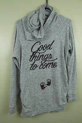 Grey Maternity Hoodie Jacket Size M Curious Gypsy Good things to come Baby