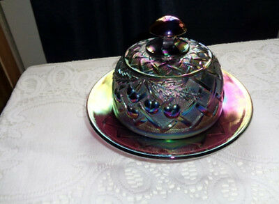 MOSSER Glass AMETHYST Purple Carnival Cherry and Lattice Butter Dish