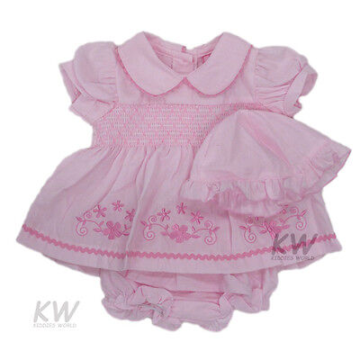 Baby Girl Clothes Dress hat pants Pink floral Romany Style Newborn - 6 Months