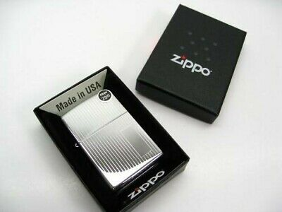 Zippo Full Size High Polish Chrome Vertical Lined Classic Windproof Lighter 350