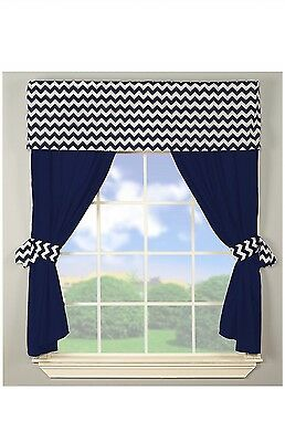 BabyDoll Bedding Baby Doll Chevron Window Valance and Curtain Set, Navy