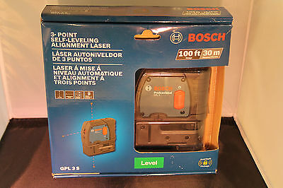 NEW  Bosch GPL 3 S Self-Leveling Alignment Laser 100' ft 3-Point