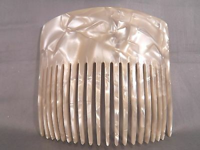 "Vintage Large Celluloid Faux Pearl Celluloid Curved Hair Comb 4 1/4"" Accessory"