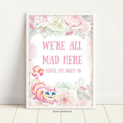 Alice in Wonderland We're All Mad Here Wall Art Nursery Print Cheshire Cat Home