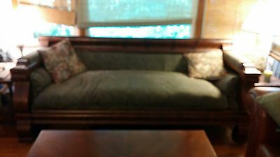 "Green Antique Empire Sofa 80""L 28""W 29""H Fair Condition"