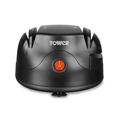 Tower T19008 Electric Knife Sharpener with Dual Grinding Wheels - Black