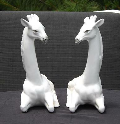 Fitz & Floyd White Giraffe Bookends Figurines 1976 Mint Condition