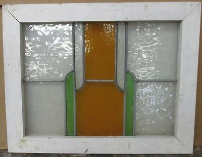 "OLD ENGLISH LEADED STAINED GLASS WINDOW Pretty Abstract Geometric 22.5"" x 17.5"""
