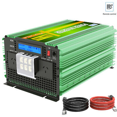 EDECOA 3500W 7000W Pure Sinve Wave 12V 240V Power Inverter Camping Boat Car LCD