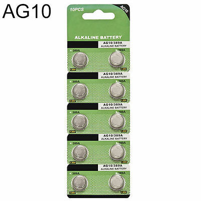 10pcs AG10 LR1130 389 LR54 L1131 189 Alkaline Button Coin Cell Battery Suncom HS