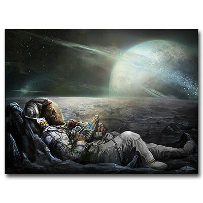 Classic Astronaut on the Moon with Beer Funny 24x36 Silk Poster Art print F-40