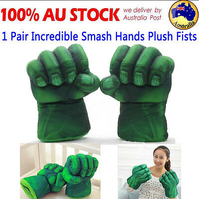 1 Pair Incredible Cosplay Hulk Gloves Smash Hands Plush Punching Boxing Fists