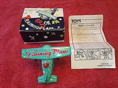 Training Plane Vintage Tin Wind Up Toy Ms011