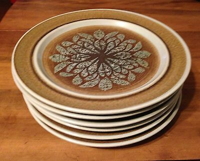 """6 Franciscan Earthenware Nut Tree Dinner Plates Approx. 9 3/4"""""""