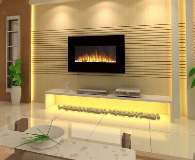 "1500W 36"" / 90Cm Black Wall Mounted Electric Fireplace Fire Heater Flame 36"""