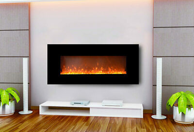 """New 1500W 128Cm 50"""" Black Wall Mounted Electric Fireplace, Fire, Heater, Flame"""