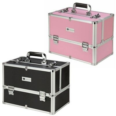 Homegear Professional Cosmetics Large Makeup Train Case w/ 6 Extendable Shelves