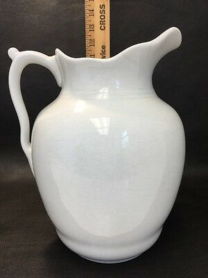 Beautiful Ironstone Large White Pitcher