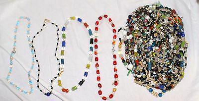 """Lot of 48 Vintage Glass 14"""" Mardi Gras Beads from New Orleans - FREE SHIPPING"""