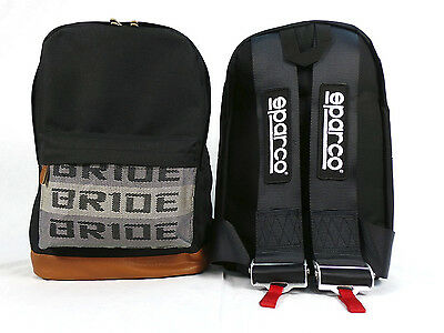 New Jdm Bag Backpack Bride With Black Sparco Harness Drift Race Track