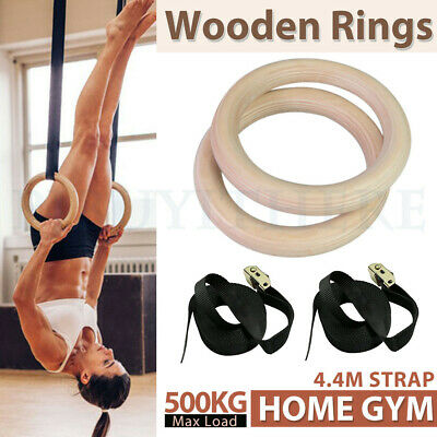 Wooden Gymnastic Olympic Rings Crossfit Gym Fitness Training Strength Exercise