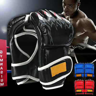 Leather Boxing Gloves Punching Sparring Bag Muay Thai Kickboxing Training MMA