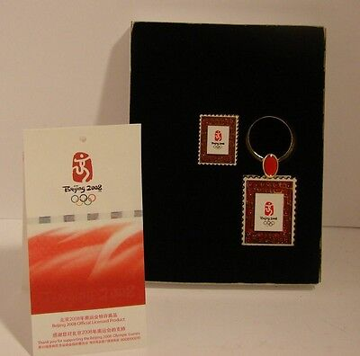 Beijing 2008 Summer Olympic Pin & Keychain Set in Box Official Licensed
