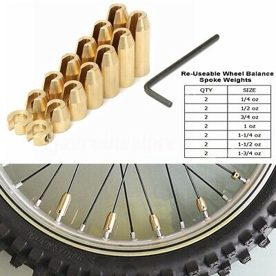 12 x Reusable Motorcycle Brass Wheel Spoke Balance Weights for KTM Suzuki BMW GS